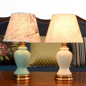 陶瓷台灯卧室床头灯书房客厅现代美式简约铜色欧式奢华遥控调光灯