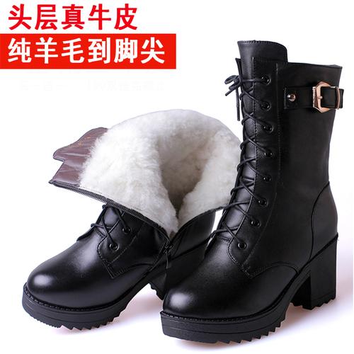 冬季羊毛真皮棉靴短筒靴女棉鞋粗跟英伦马丁靴女短靴厚底军靴大码