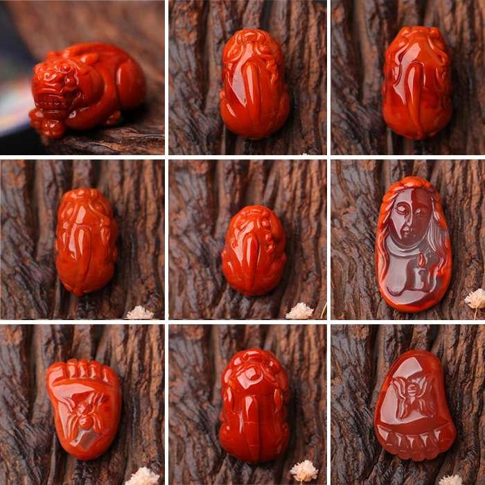 碧雅 南红玛瑙吊坠苏工雕刻件佛像人物花鱼貔貅挂件四川凉山满肉