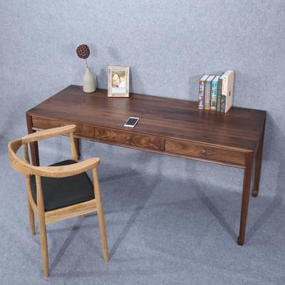 新中式黑胡桃木书桌电脑桌原木抽屉写字台书桌家具橡木全实木书桌特价