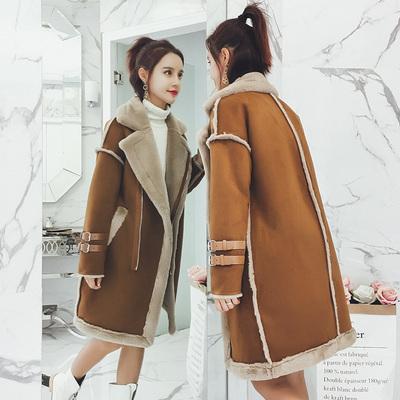 Hit Shop新款毛皮麂皮绒皮毛一体bf原宿风棉衣女冬中长款棉服外套