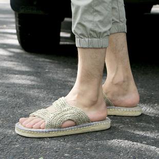 夏季新款 复古草编鞋 休闲鞋 亚麻拖鞋 透气手工麻鞋 雅路人男士