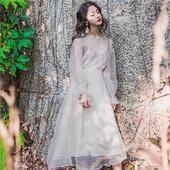 小清新刺绣泡泡袖衬衣网纱两件套初恋裙复古仙气长款连衣裙超仙春