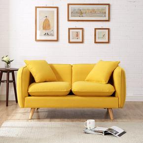 现代简约小户型黄色两人北欧客厅卧室租房日式双人三人位布艺沙发