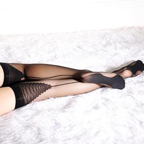 【撩汉出品】透明提花长筒丝袜 薄款透肉 性感高筒袜黑丝