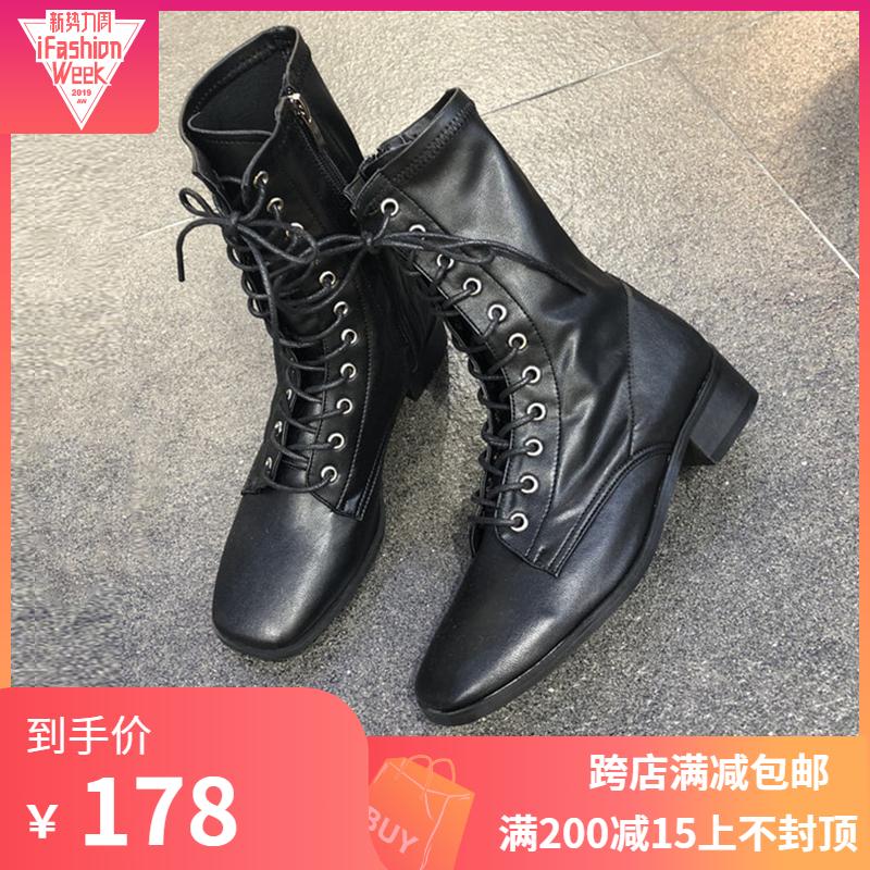 韩国女鞋2019秋新款欧美方头系带骑士马丁靴侧拉链方跟中筒靴包邮