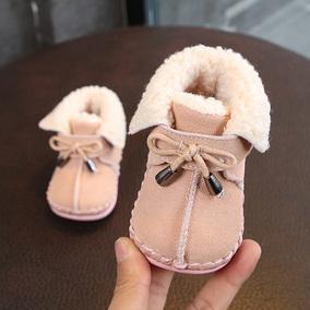 男女童婴儿学步鞋冬季加绒真皮机能鞋 宝宝周岁棉鞋软底防滑0-1岁