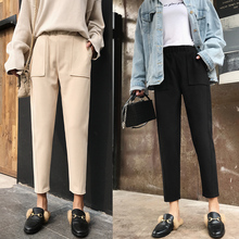 Leisure trousers, woolen trousers, children's broad legs in autumn and winter, new style of small trousers, straight turnip trousers and slim Hallen trousers