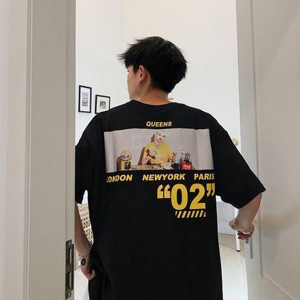 青少年五分袖男短袖t恤韩版潮流宽松衣服5分袖7夏季高中学生半袖