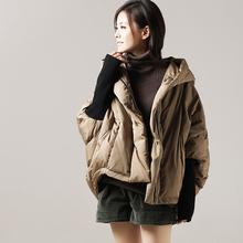米可可Y0680文艺大码衍缝蝙蝠型宽松短款连帽羽绒服女 18冬新图片
