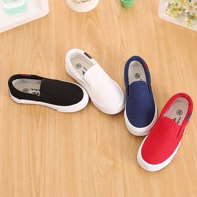 回力童鞋 一脚蹬套脚儿童布鞋男童布鞋学生白色帆布鞋女童小白鞋