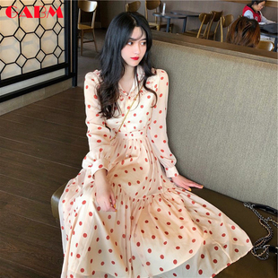 法式复古波点桔梗长裙子甜美时尚 女装 气质过膝连衣裙 GABM2019新款
