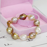 Edison Baroque 12-14mm Irregular Shaped Beads Mixed Natural Freshwater Pearl Bracelet Colorful