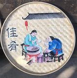 Hand-painted bamboo screen painting 簸箕 painting hot pot restaurant restaurant decoration painting restaurant frameless painting factory bamboo hand-woven