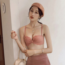 Girl underwear set butterfly Cup seamless comfort no rims small chest gathered vice milk half cup beauty back bra