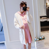 Pregnant women fall and winter sweater coat female Korean version of the loose long section of the tide mother pregnant women sweater spring and autumn cardigan shirt