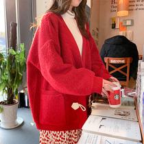 很仙的毛衣女开衫2019新款春季宽松韩版网红慵懒风短款针织衫外套