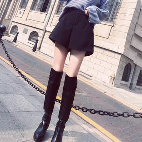 毛呢短裤女秋冬季2018新款韩版宽松显瘦高腰阔腿百搭呢子外穿靴裤