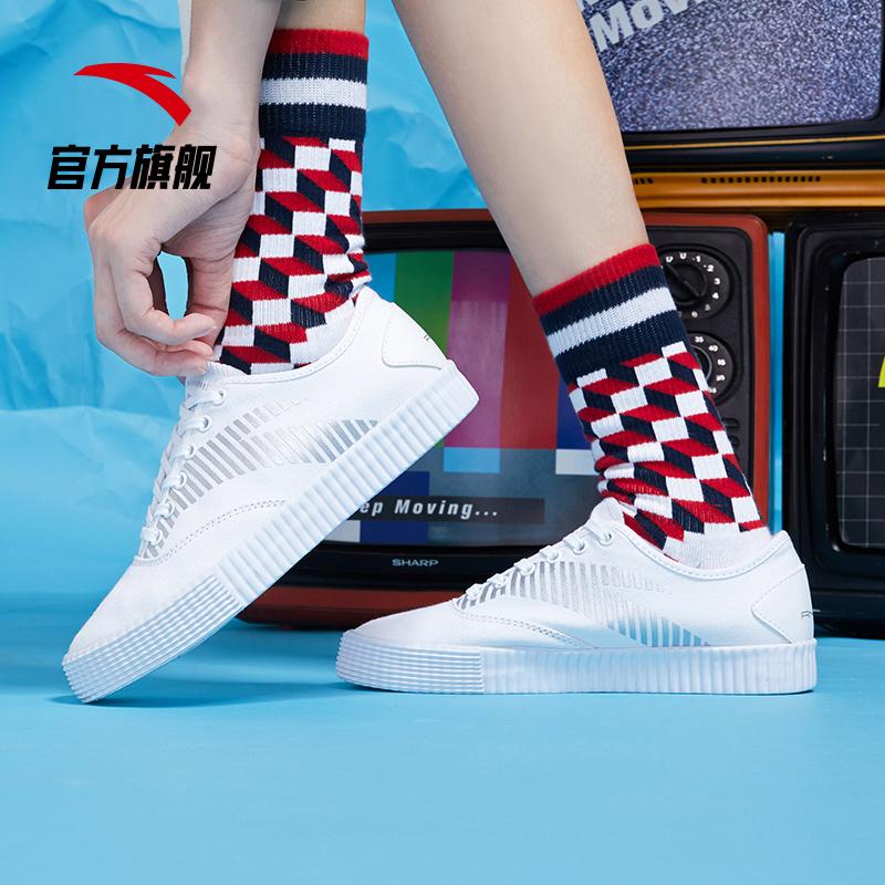 安踏帆布鞋女鞋2019秋季新款潮流鞋硫化鞋运动板鞋休闲鞋小白鞋