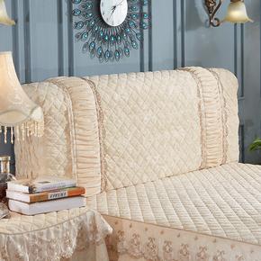 欧式全包床头罩床头套防尘罩布艺软包实木皮床拆洗1.8m米床保护套