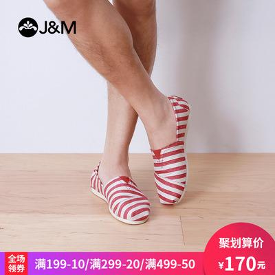 jm快乐玛丽春夏欧美条纹时尚平底套脚休闲低帮帆布鞋男鞋子61851M