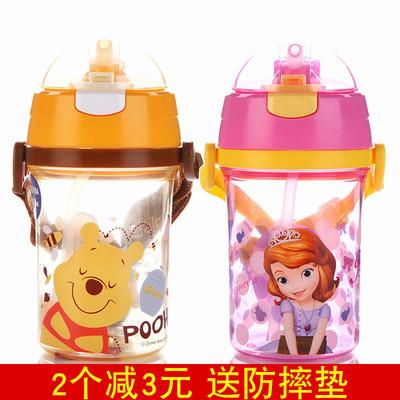 迪士尼儿童吸管杯宝宝水杯幼儿园夏季塑料喝水杯子背带水壶小学生排行榜