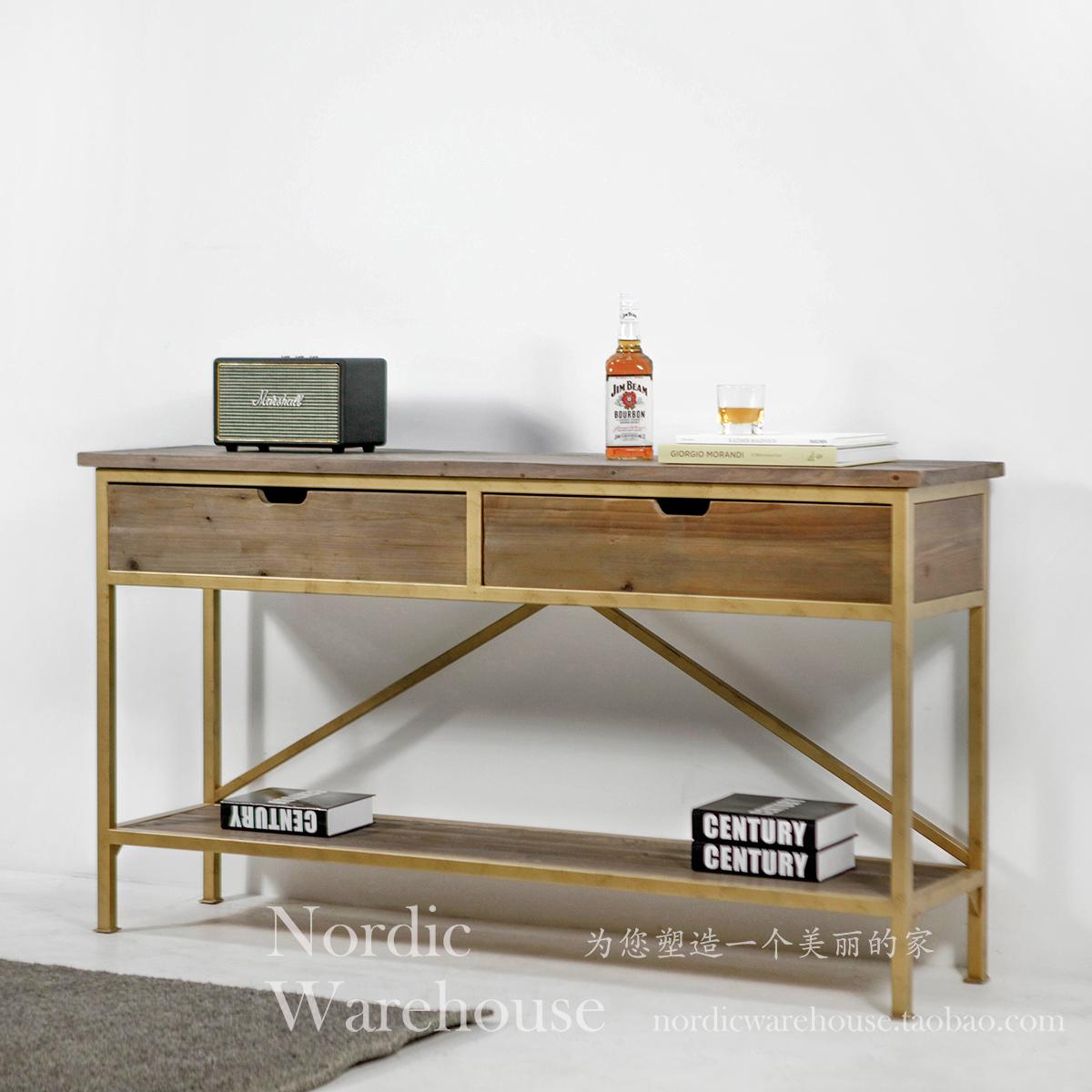 美式乡村复古LOFT 老杉木金色铁艺玄关柜/电视柜 轻奢风做旧边桌