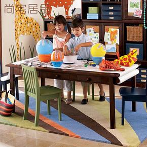 美式乡村全实木儿童学习桌子玩具桌书桌创意画画桌带储物抽屉定制