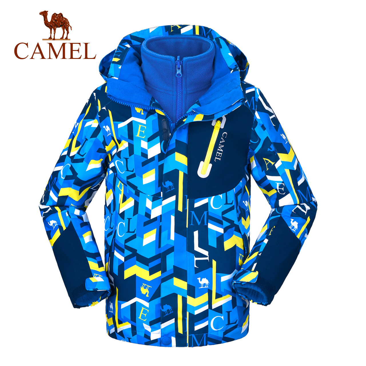 骆驼童装儿童冲锋衣男童三合一可拆卸女童秋冬两件套防风防水外套