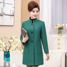 Mid-aged and old people spring and autumn new woolen jacket women's wear medium-long pure color woolen overcoat mid-aged women's autumn windbreaker