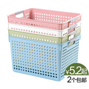 Imitation rattan desktop storage basket plastic hollow storage basket kitchen snack file storage box bathroom shower basket