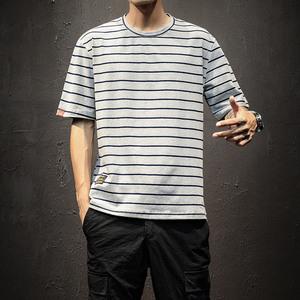 2018夏季新款条纹短袖T恤男士大码修身圆领半袖衣服韩版潮流男装