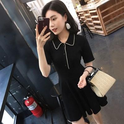 2019夏季新款复古短袖高腰收腰显瘦点边裙针织冰丝连衣裙女装