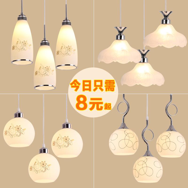 餐厅吊灯现代简约创意三头饭厅家用玻璃球单头吧台店铺个性灯具
