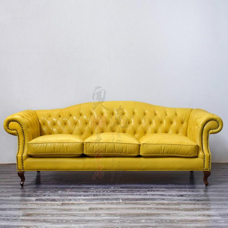 欧式拉扣皮沙发