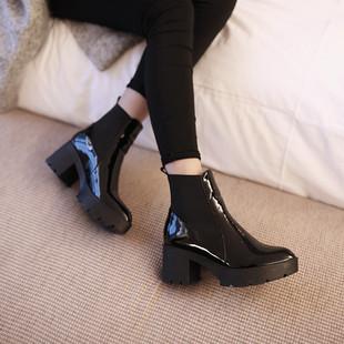 KAKY定制欧美大牌尖头真皮粗跟牛漆皮短靴松糕厚底高跟马丁靴女靴