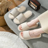 Japanese-style linen slippers women wear summer home lovers slippers indoor non-slip cotton linen home slippers men