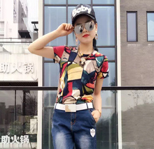 Women's Cotton Short Sleeve T-shirt, Korean Style, Colour Matching, Large Half Sleeve Flower Blouse, Short Sleeve, Short Sleeve, Short Sleeve, 2009