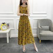 棉绸中长款连衣裙女2018夏季新款碎花无袖背心裙大码显瘦印花裙子