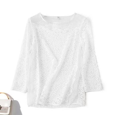 2018夏季新品桑蚕丝真丝欧根纱拼接蕾丝长袖圆领T恤白色上衣女