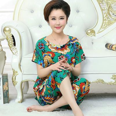 夏季中老年纯棉睡衣加肥加大女式人造棉妈妈装套头短袖绵绸家居服