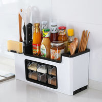Multi-function seasoning box shelf spice bottle storage rack seasoning jar storage box condiment kitchen set