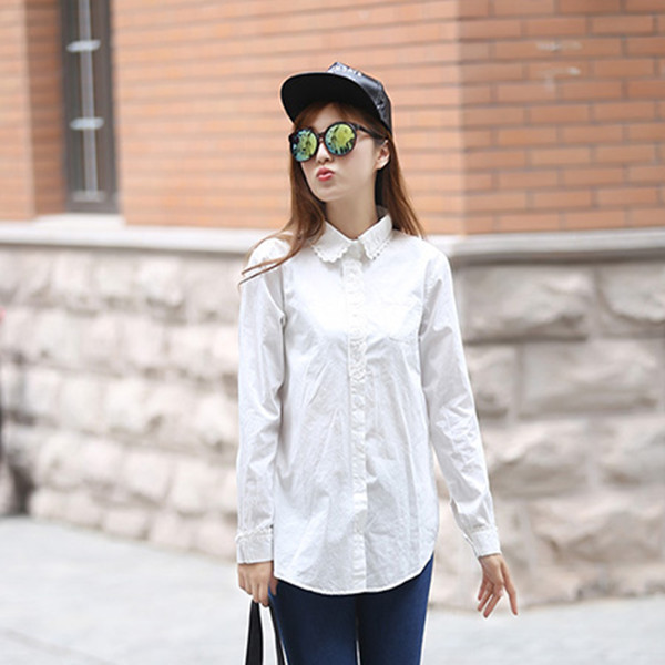 Korean lace shirt long sleeve spring and autumn ladies shirt business professional dress student large size white