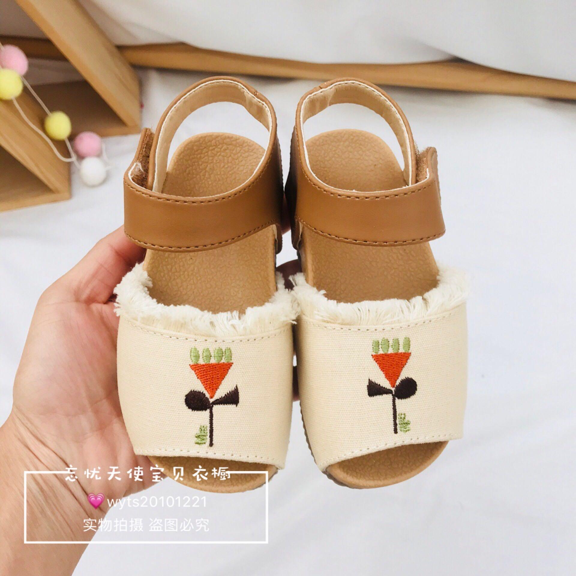 韩国童装 19小雨伞夏季新品女童米色刺绣凉鞋 女孩百搭沙滩鞋童鞋