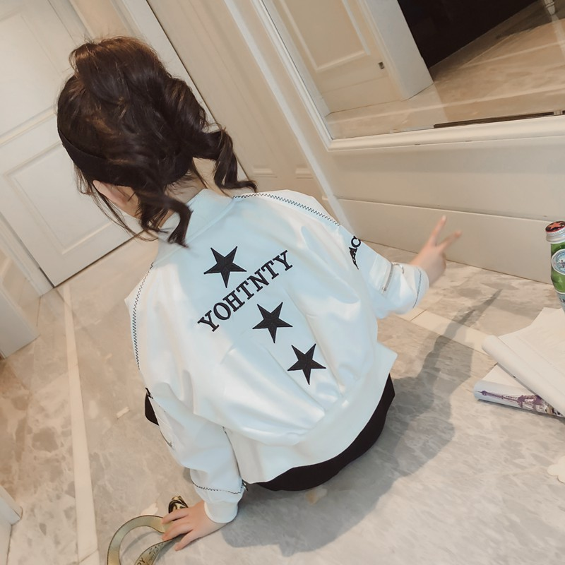 韩版童装女童个性春装外套2018新款儿童短夹克中大童棒球服潮开衫