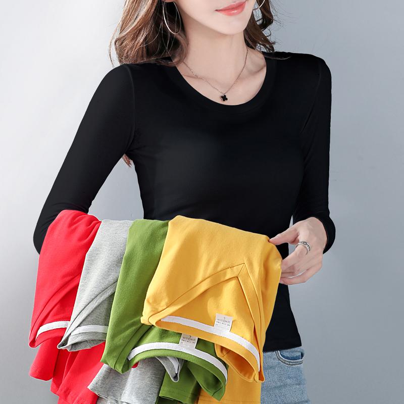 加绒打底衫女士2020新款长袖t恤加厚紧身上衣服秋冬洋气保暖内搭