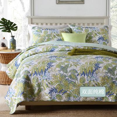 欧式全棉绗缝床盖三件套单件衍缝被双人床铺盖夹棉加厚床单床罩