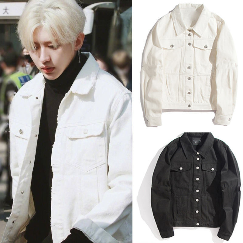 Cai Xukun with the same clothes jacket female pure white denim loose long-sleeved lapel coat clip