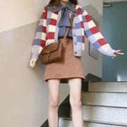 ins 元气少女~软妹学院风 复古方格拼色开衫毛衣减龄衬衫短裙套装