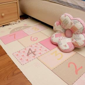 儿童房间卧室地毯床边毯长方形脚垫棉编织宝宝游戏爬行地垫可机洗